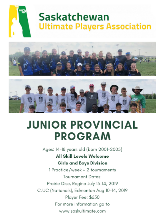 Junior Provincial Program Saskatchewan Ultimate Players Association