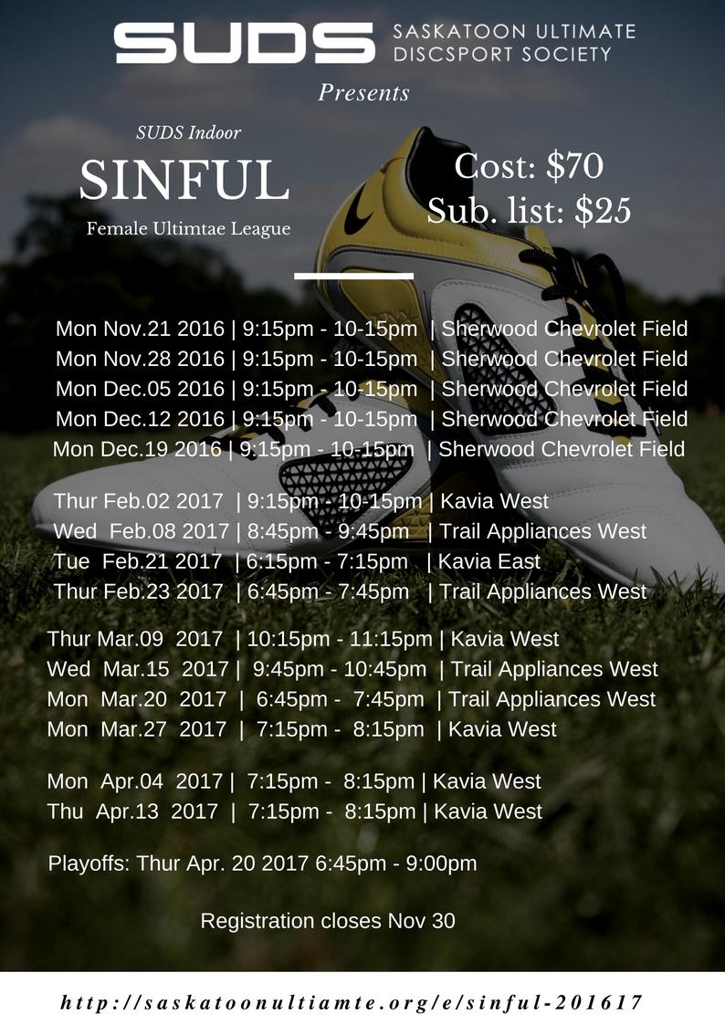 Sherwood Chev Saskatoon >> Overview Sinful 2016 17 Saskatoon Ultimate Disc Sport Society