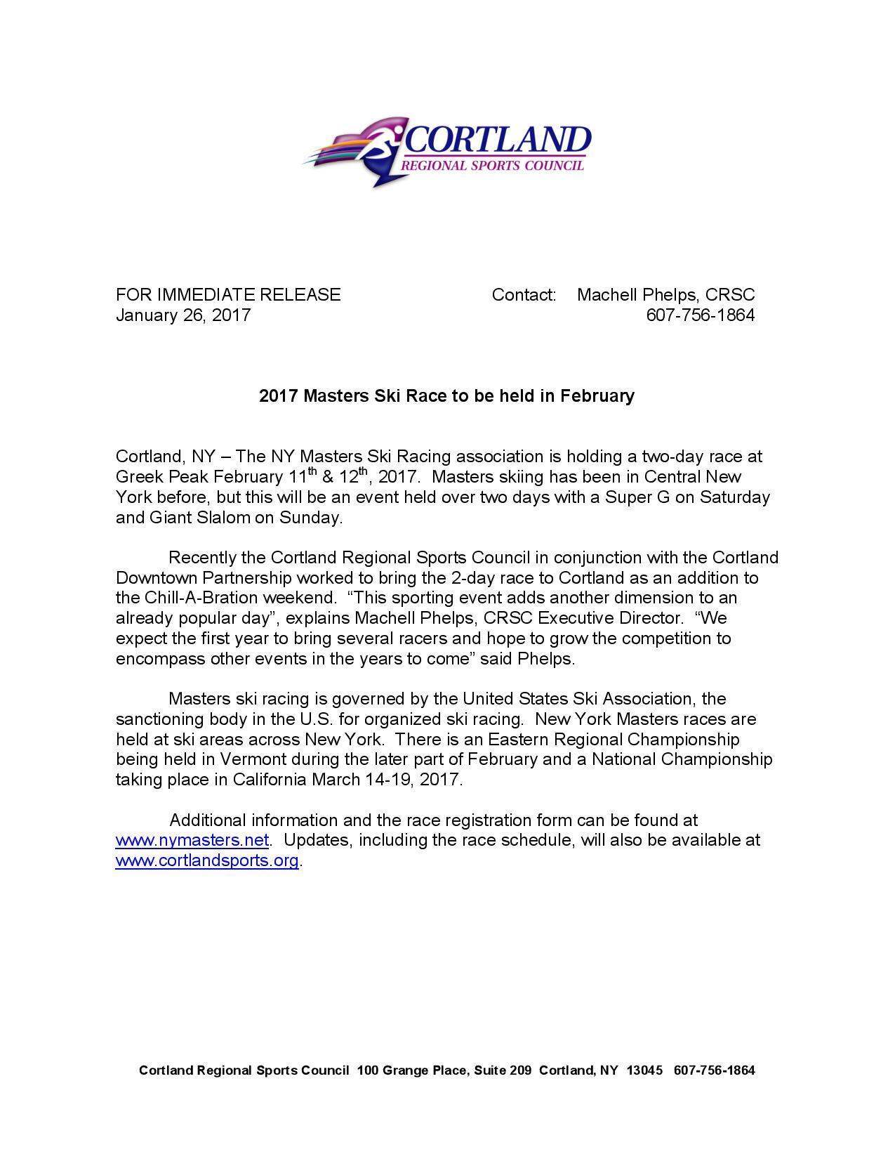 NY Masters - Ski Racing Press Release - Cortland Regional